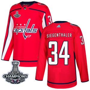 Washington Capitals Jonas Siegenthaler Official Red Adidas Authentic Youth Home 2018 Stanley Cup Champions Patch NHL Hockey Jers