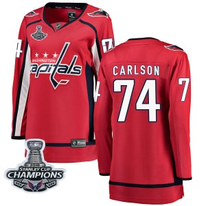 Washington Capitals John Carlson Official Red Fanatics Branded Breakaway Women's Home 2018 Stanley Cup Champions Patch NHL Hocke