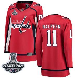 Washington Capitals Jeff Halpern Official Red Fanatics Branded Breakaway Women's Home 2018 Stanley Cup Champions Patch NHL Hocke