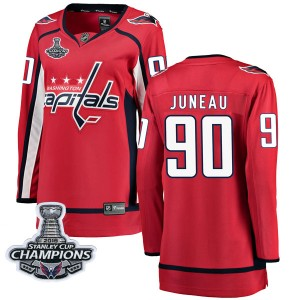 Washington Capitals Joe Juneau Official Red Fanatics Branded Breakaway Women's Home 2018 Stanley Cup Champions Patch NHL Hockey