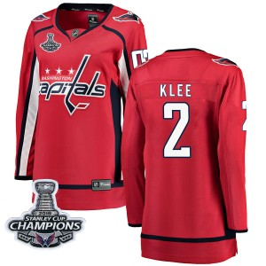 Washington Capitals Ken Klee Official Red Fanatics Branded Breakaway Women's Home 2018 Stanley Cup Champions Patch NHL Hockey Je