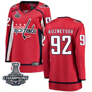 Washington Capitals Evgeny Kuznetsov Official Red Fanatics Branded Breakaway Women's Home 2018 Stanley Cup Champions Patch NHL H