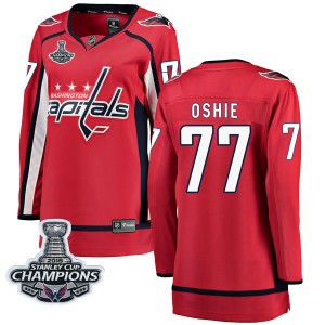 Washington Capitals T.J. Oshie Official Red Fanatics Branded Breakaway Women's Home 2018 Stanley Cup Champions Patch NHL Hockey