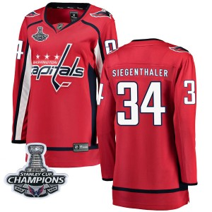 Washington Capitals Jonas Siegenthaler Official Red Fanatics Branded Breakaway Women's Home 2018 Stanley Cup Champions Patch NHL