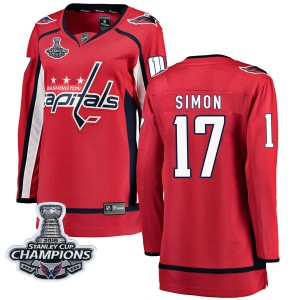 Washington Capitals Chris Simon Official Red Fanatics Branded Breakaway Women's Home 2018 Stanley Cup Champions Patch NHL Hockey