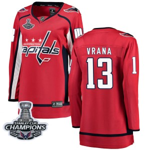 Washington Capitals Jakub Vrana Official Red Fanatics Branded Breakaway Women's Home 2018 Stanley Cup Champions Patch NHL Hockey
