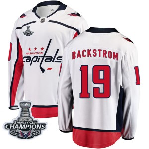 Washington Capitals Nicklas Backstrom Official White Fanatics Branded Breakaway Youth Away 2018 Stanley Cup Champions Patch NHL
