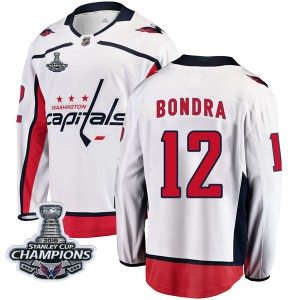 Washington Capitals Peter Bondra Official White Fanatics Branded Breakaway Youth Away 2018 Stanley Cup Champions Patch NHL Hocke