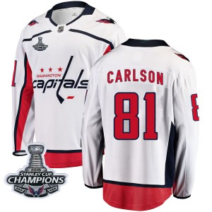 Washington Capitals Adam Carlson Official White Fanatics Branded Breakaway Youth Away 2018 Stanley Cup Champions Patch NHL Hocke