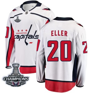 Washington Capitals Lars Eller Official White Fanatics Branded Breakaway Youth Away 2018 Stanley Cup Champions Patch NHL Hockey