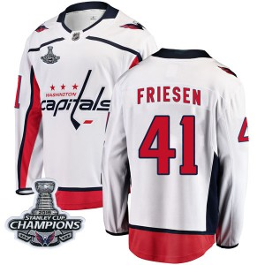 Washington Capitals Jeff Friesen Official White Fanatics Branded Breakaway Youth Away 2018 Stanley Cup Champions Patch NHL Hocke