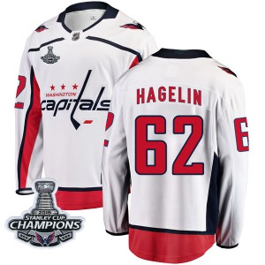 Washington Capitals Carl Hagelin Official White Fanatics Branded Breakaway Youth Away 2018 Stanley Cup Champions Patch NHL Hocke