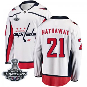 Washington Capitals Garnet Hathaway Official White Fanatics Branded Breakaway Youth Away 2018 Stanley Cup Champions Patch NHL Ho