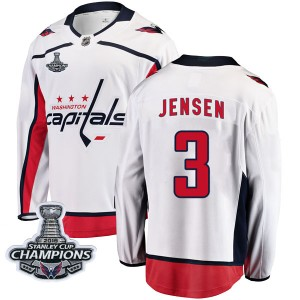 Washington Capitals Nick Jensen Official White Fanatics Branded Breakaway Youth Away 2018 Stanley Cup Champions Patch NHL Hockey