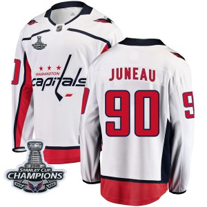Washington Capitals Joe Juneau Official White Fanatics Branded Breakaway Youth Away 2018 Stanley Cup Champions Patch NHL Hockey