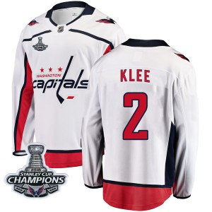 Washington Capitals Ken Klee Official White Fanatics Branded Breakaway Youth Away 2018 Stanley Cup Champions Patch NHL Hockey Je
