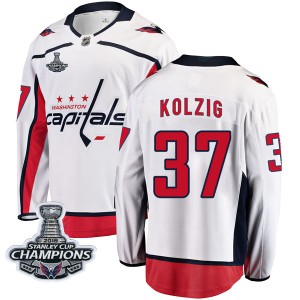 Washington Capitals Olaf Kolzig Official White Fanatics Branded Breakaway Youth Away 2018 Stanley Cup Champions Patch NHL Hockey