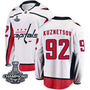 Washington Capitals Evgeny Kuznetsov Official White Fanatics Branded Breakaway Youth Away 2018 Stanley Cup Champions Patch NHL H