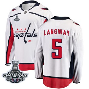 Washington Capitals Rod Langway Official White Fanatics Branded Breakaway Youth Away 2018 Stanley Cup Champions Patch NHL Hockey