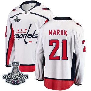 Washington Capitals Dennis Maruk Official White Fanatics Branded Breakaway Youth Away 2018 Stanley Cup Champions Patch NHL Hocke