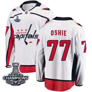 Washington Capitals T.J. Oshie Official White Fanatics Branded Breakaway Youth Away 2018 Stanley Cup Champions Patch NHL Hockey