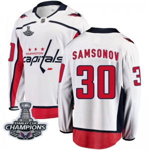 Washington Capitals Ilya Samsonov Official White Fanatics Branded Breakaway Youth Away 2018 Stanley Cup Champions Patch NHL Hock