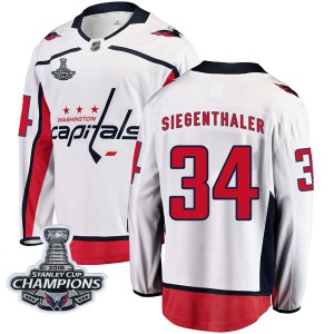 Washington Capitals Jonas Siegenthaler Official White Fanatics Branded Breakaway Youth Away 2018 Stanley Cup Champions Patch NHL