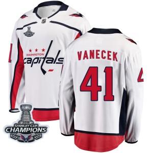 Washington Capitals Vitek Vanecek Official White Fanatics Branded Breakaway Youth Away 2018 Stanley Cup Champions Patch NHL Hock