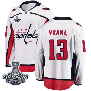 Washington Capitals Jakub Vrana Official White Fanatics Branded Breakaway Youth Away 2018 Stanley Cup Champions Patch NHL Hockey