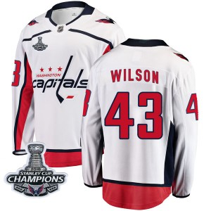 Washington Capitals Tom Wilson Official White Fanatics Branded Breakaway Youth Away 2018 Stanley Cup Champions Patch NHL Hockey