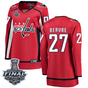 Washington Capitals Craig Berube Official Red Fanatics Branded Breakaway Women's Home 2018 Stanley Cup Final Patch NHL Hockey Je