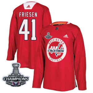 Washington Capitals Jeff Friesen Official Red Adidas Authentic Youth Practice 2018 Stanley Cup Champions Patch NHL Hockey Jersey
