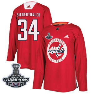 Washington Capitals Jonas Siegenthaler Official Red Adidas Authentic Youth Practice 2018 Stanley Cup Champions Patch NHL Hockey