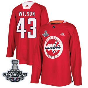 Washington Capitals Tom Wilson Official Red Adidas Authentic Youth Practice 2018 Stanley Cup Champions Patch NHL Hockey Jersey