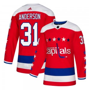 Washington Capitals Craig Anderson Official Red Adidas Authentic Youth Alternate NHL Hockey Jersey