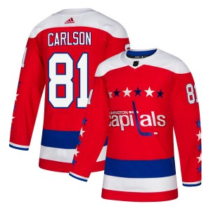 Washington Capitals Adam Carlson Official Red Adidas Authentic Youth Alternate NHL Hockey Jersey