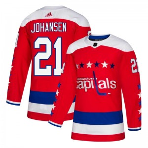 Washington Capitals Lucas Johansen Official Red Adidas Authentic Youth Alternate NHL Hockey Jersey