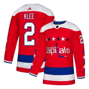Washington Capitals Ken Klee Official Red Adidas Authentic Youth Alternate NHL Hockey Jersey