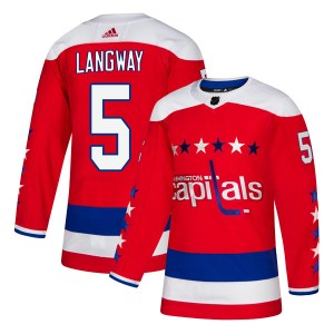 Washington Capitals Rod Langway Official Red Adidas Authentic Youth Alternate NHL Hockey Jersey