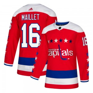 Washington Capitals Philippe Maillet Official Red Adidas Authentic Youth ized Alternate NHL Hockey Jersey