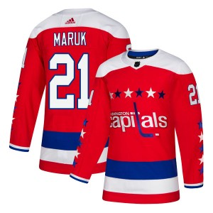 Washington Capitals Dennis Maruk Official Red Adidas Authentic Youth Alternate NHL Hockey Jersey