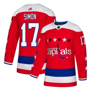 Washington Capitals Chris Simon Official Red Adidas Authentic Youth Alternate NHL Hockey Jersey