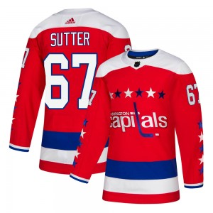 Washington Capitals Riley Sutter Official Red Adidas Authentic Youth Alternate NHL Hockey Jersey