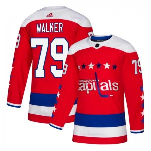 Washington Capitals Nathan Walker Official Red Adidas Authentic Youth Alternate NHL Hockey Jersey