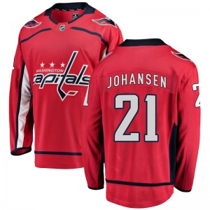 Washington Capitals Lucas Johansen Official Red Fanatics Branded Breakaway Youth Home NHL Hockey Jersey