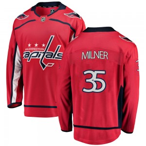Washington Capitals Parker Milner Official Red Fanatics Branded Breakaway Youth Home NHL Hockey Jersey