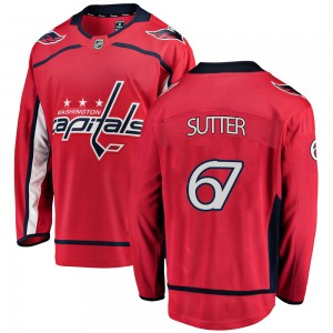 Washington Capitals Riley Sutter Official Red Fanatics Branded Breakaway Youth Home NHL Hockey Jersey