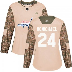 Washington Capitals Connor McMichael Official Camo Adidas Authentic Women's Veterans Day Practice NHL Hockey Jersey