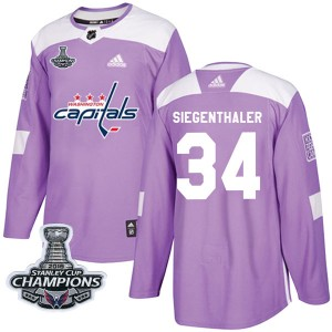 Washington Capitals Jonas Siegenthaler Official Purple Adidas Authentic Adult Fights Cancer Practice 2018 Stanley Cup Champions