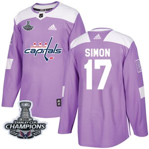 Washington Capitals Chris Simon Official Purple Adidas Authentic Adult Fights Cancer Practice 2018 Stanley Cup Champions Patch N